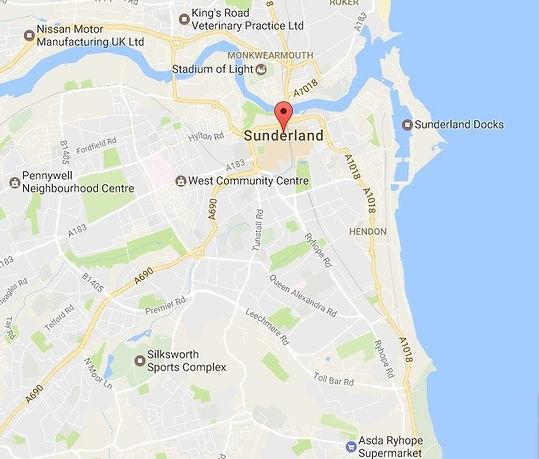 Map of Sunderland