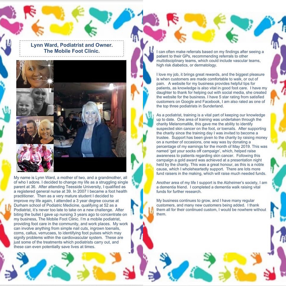 My back story for the awards night as a Podiatrist and business owner.