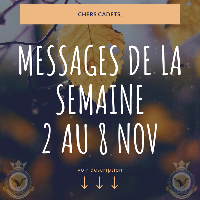 Messages de la semaine 2 novembre 2020