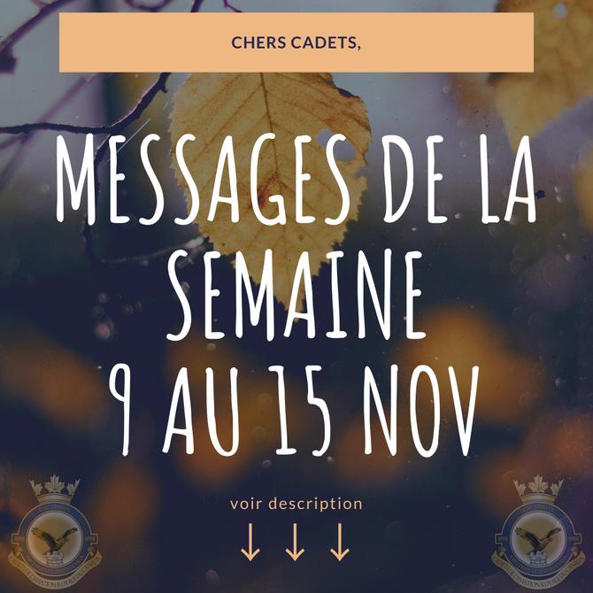 Messages de la semaine 9 novembre 2020