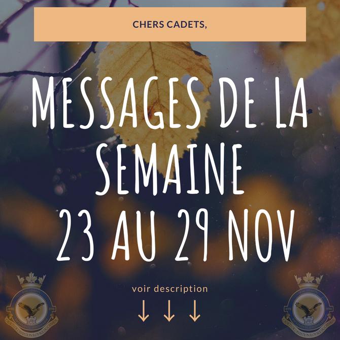 Message de la semaine 23 novembre