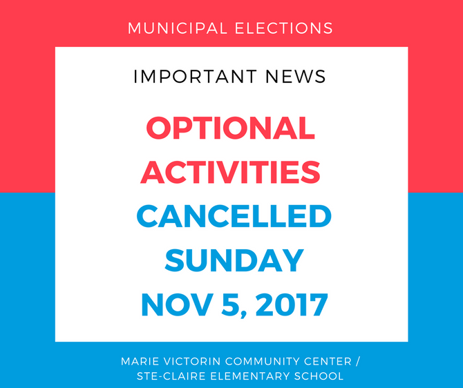 SUNDAY NOV 5, 2017 OPTIONAL ACTIVITIES CANCELLED