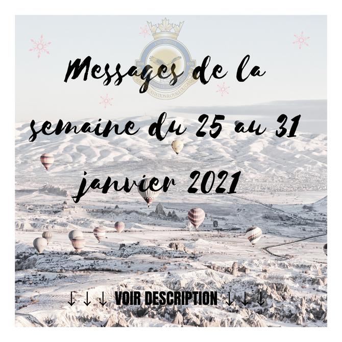 Message de la semaine - 25 au 31 janvier 2021