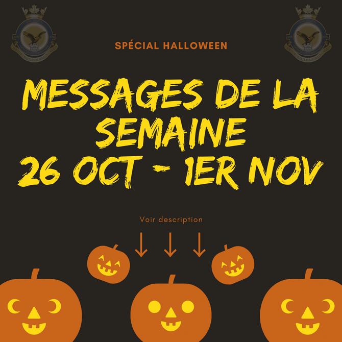 Messages de la semaine 26 octobre 2020
