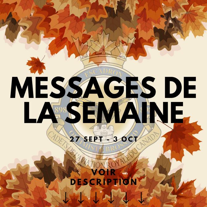 Messages de la semaine - 27 sept. au 3 oct. 2021