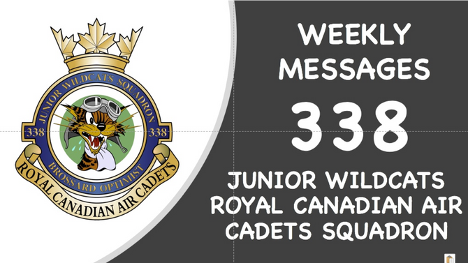 338 SQUADRON WEEKLY MESSAGES (MAY 29-JUNE 2, 2019)