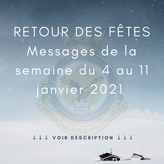 Message de la semaine du 4 janvier 2021
