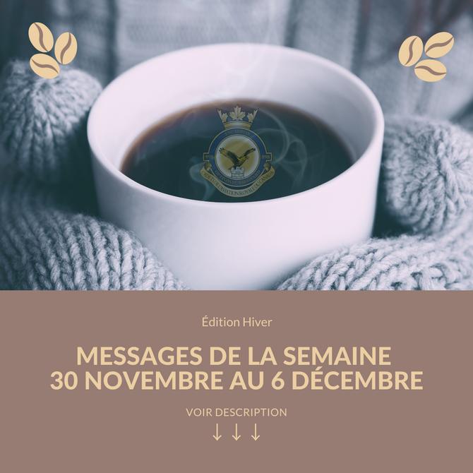 Message de la semaine 30 novembre