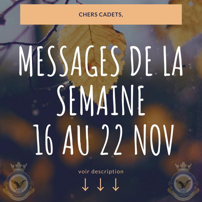 Message de la semaine du 16 Novembre