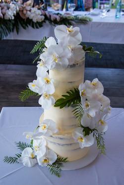 Orchid Semi Naked Wedding Cake