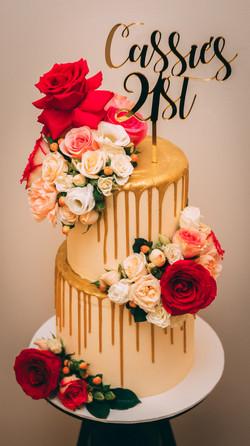 Gold Drip 21st Birthday Cake