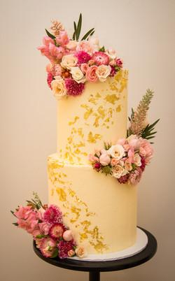Gold Leaf Buttercream Cake