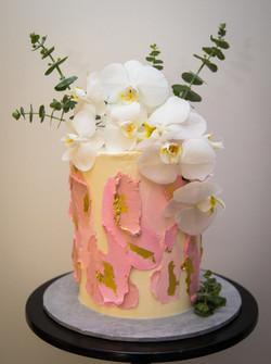 Textured Buttercream Orchid Cake