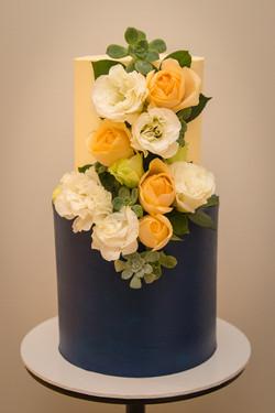 Navy Floral Wedding Cake