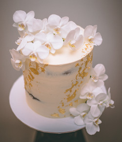 Orchid Cake with Gold Leaf