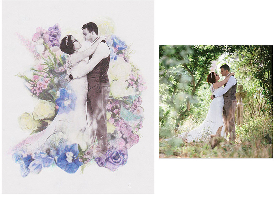 Before and after - wedding photo collage