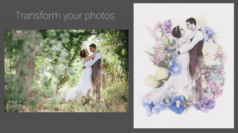 Wedding Photo Artwork - Personalised collage of bride and groom surrounded in flowers hand-coloured