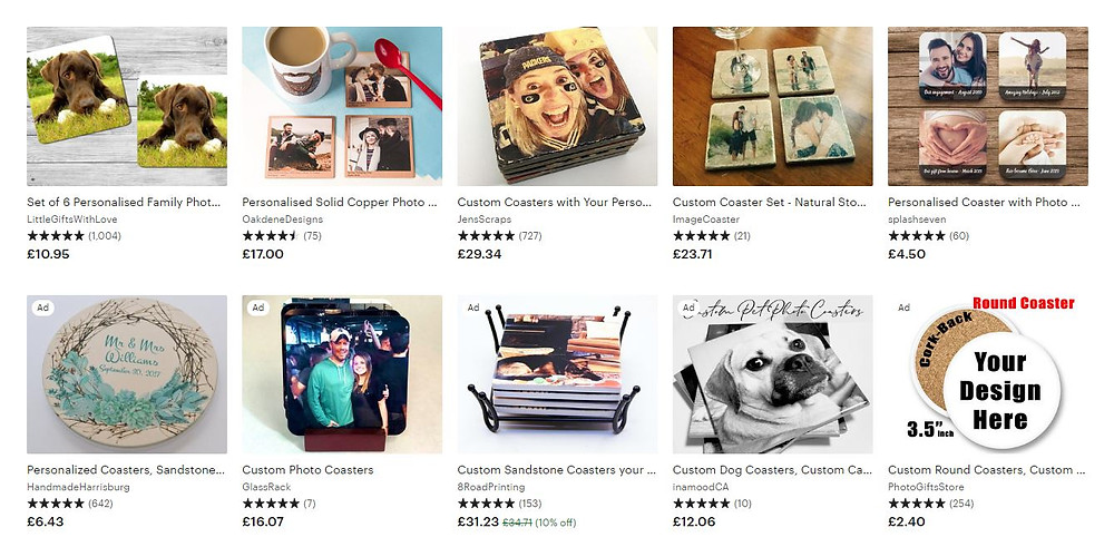 Etsy screenshot of photo coasters search
