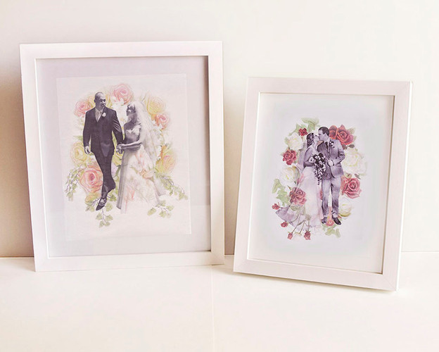 Personalised Wedding Collages - Hand-col