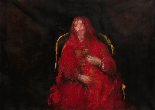 The Jewish Bride -After Divorce -Het Joodse Bruidje-Woman Sitting In a Red Chair