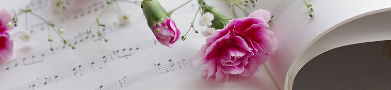 sheet music and flowers