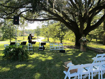 Setting up for outdoor wedding