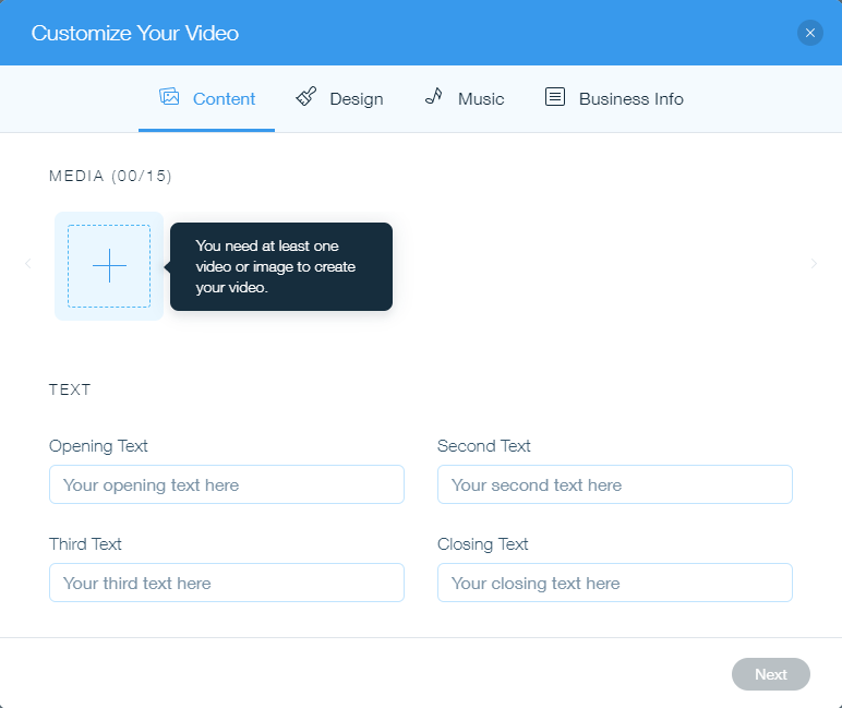 Wix video oluşturma aracı