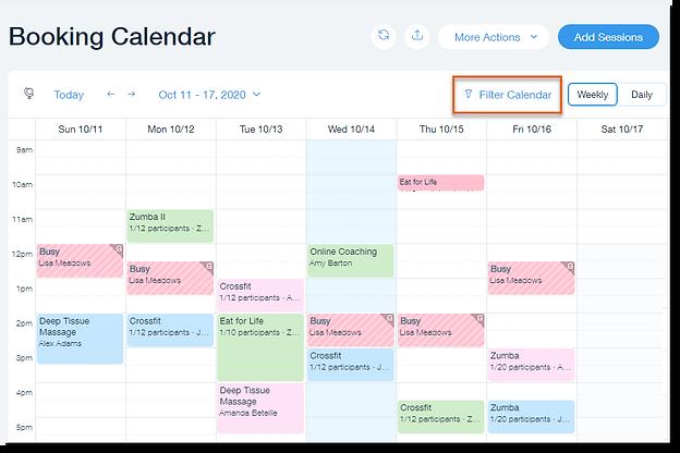 Wix Bookings (Randevularım) uygulamasında kaydedilen randevuları renkli filtrelerle site panelinizde görüntülemeye başlayın.