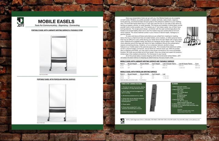 Spec Sheet for Mobile Easels
