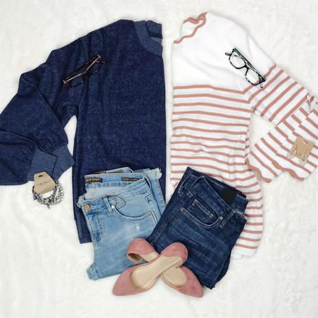 Brushed sweatshirt & scalloped sweater top