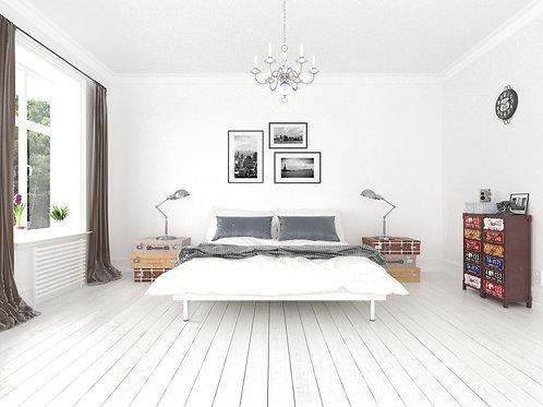 유럽풍 현대적인 화이트톤의 침실 디자인