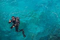 Diver Transparent Sea - Sultan Gardens R
