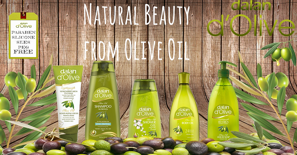 Natural body and hair care products. Natural olive oil.
