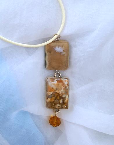 Double Semi Precious Stone pendant