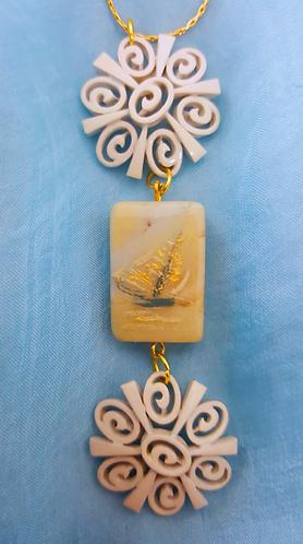Sailing - Hand-painted Sailboat on Semi-precious stone