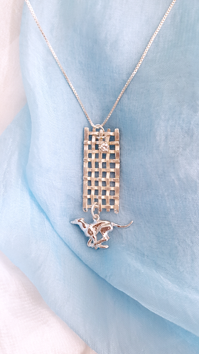 Sterling Silver Running Greyhound Necklace - A Wearable Sculpture