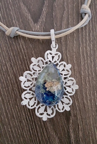 Colors of the Sea Quartz Crystal Pendant - one of a kind
