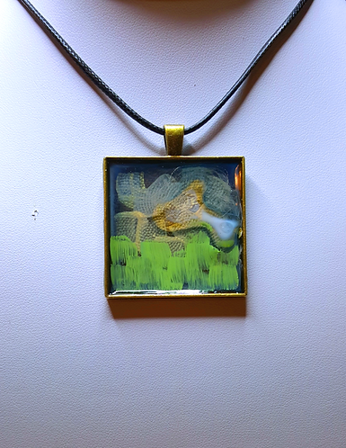 """""""Lookout"""" One of a Kind, handpainted pendant necklace."""