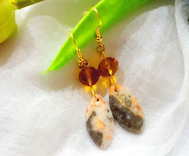 Semiprecious Stone & Glass Bead Earrings