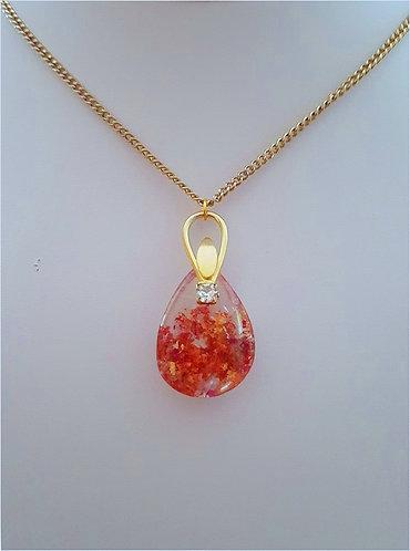 Red Quartz Crystal & Vintage Pendant Necklace