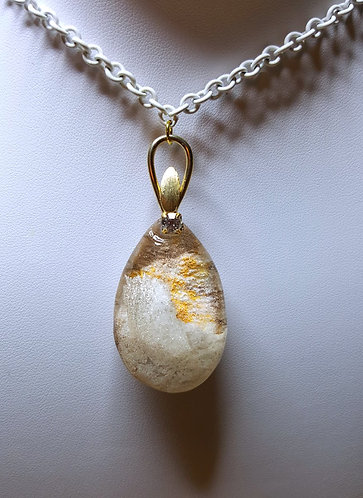 """""""MountainsLike Shimmering Clouds"""" - one of a kind quartz crystal pendant"""