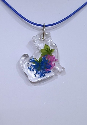 Floral Resin Cat Pendant on Navy Blue Waxed Cord