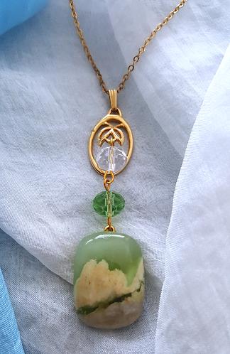 Bloom -vintage, glass beads, semi-precious stone pendant
