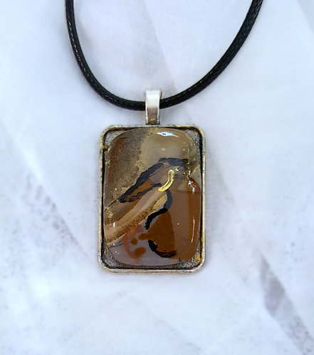 Hand-painted greyhound on semi-precious stone pendant necklace