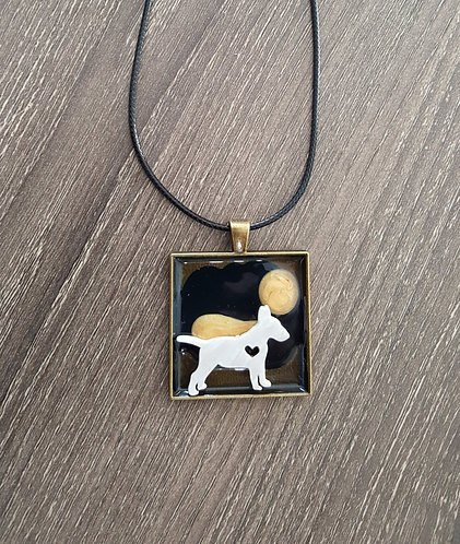 Modern Bull Terrier - one of a kind pendant