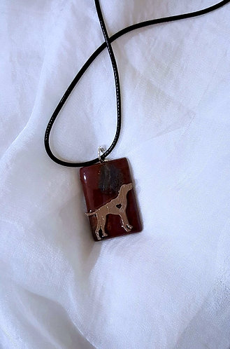 Hunting Dog on Semiprecious stone - one of a kind necklace