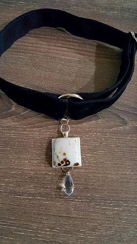Black velvet martingale collar with semiprecious stone pendant