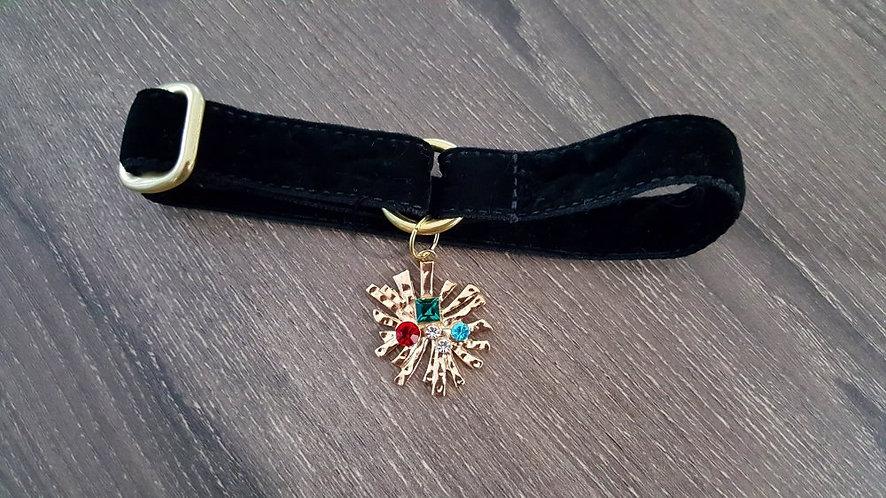 Black velvet martingale collar with modern starburst pendant