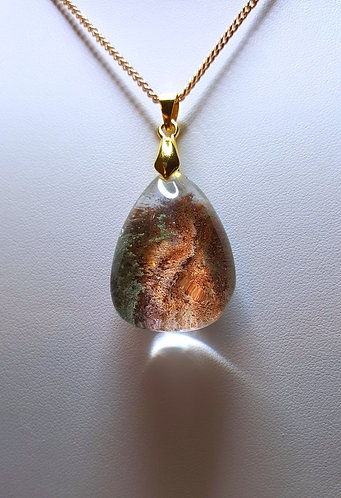 """Mountainside"" - one of a kind quartz crystal pendant"