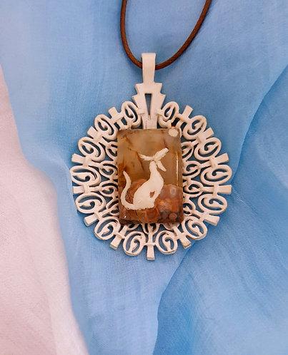White dog art hand-painted on semiprecious stone pendant necklace
